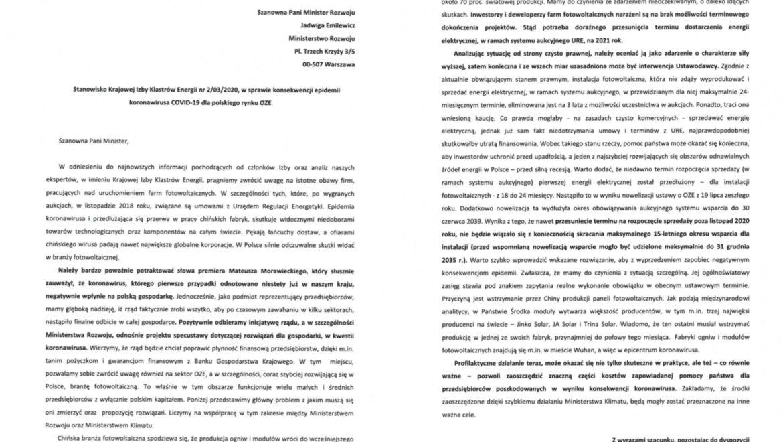 Pismo Krajowej Izby Klastrów Energii skierowane do Pani Minister Jadwigi Emilewicz, w kontekście przygotowywania przez rząd specustawy dot. konsekwencji koronawirusa