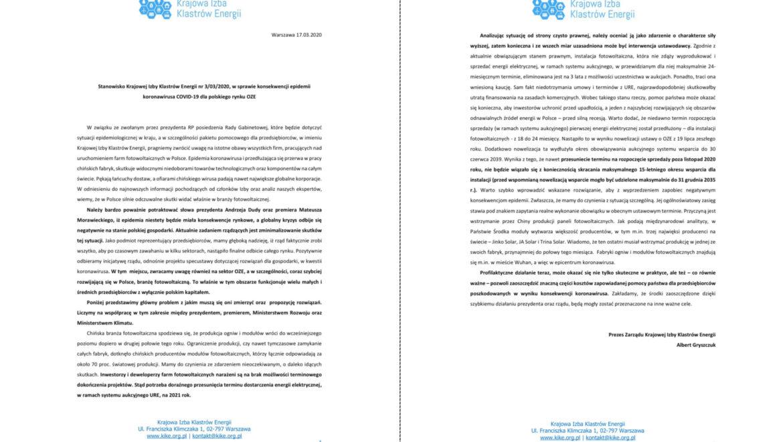 Stanowisko Krajowej Izby Klastrów Energii w sprawie rządowego pakietu pomocowego i konsekwencji epidemii koronawirusa COVID-19 dla polskiego rynku OZE